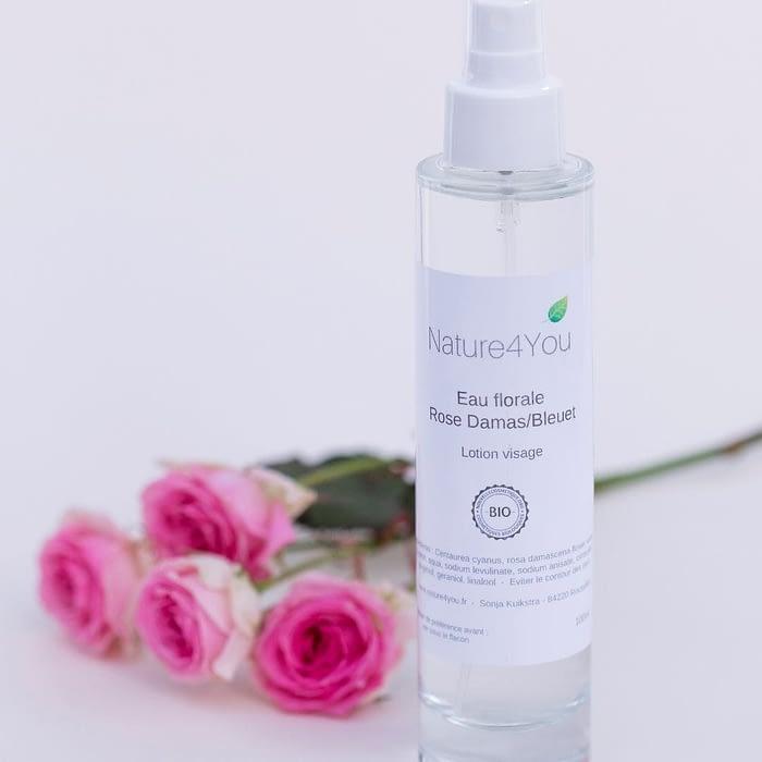 eau florale bio rose de damas fleur de bleuet nature4you lotion visage naturelle